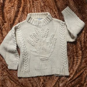 Vintage 100% Wool Cottagecore Cable Knit Sweater